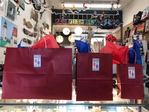Image of surprise gift bags sold by Red Fish Blue Fish on Cape Cod.